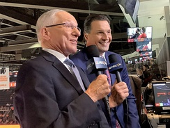 Mike Emrick and Ed Olczyk working a game on NHL on NBCSN (2019).