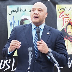 "André Carson speaking at the ""No Muslim Ban Ever"" rally outside the Supreme Court, April 2018"