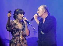"Leroy performing ""Brian Boru"" with Alan Stivell at the Paris Olympia in France on 16 February 2012"