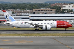A 787-8 of Norwegian Long Haul. A fully owned subsidiary of Norwegian Air Shuttle, Norwegian Long Haul is an unusual example of a low cost carrier which exclusively uses the Dreamliner.