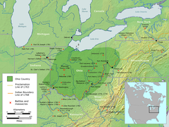 The Ohio Country indicating battle sites between American settlers and indigenous tribes, 1775–1794