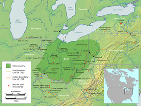 The Ohio Country indicating battle sites between settlers and Native American Tribes, 1775–1794