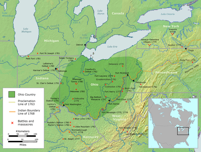 The Ohio Country with battles and massacres between 1775 and 1794