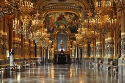 Opéra Garnier interior showing chandeliers and gilded decoration