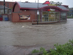 A flooded Pizza Hut in Chesterfield