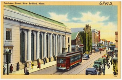 A postcard with artwork featuring Purchase Street, New Bedford, c. 1930–1945