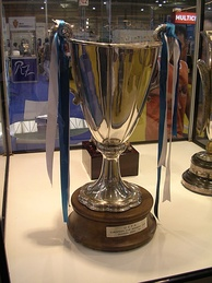 The 1995 Cup Winners' Cup in display in the club's trophy cabinet.