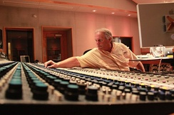 Noted audio engineer Roger Nichols at a vintage Neve recording console.
