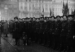 A formation of Russian soldiers are pictured at the Helsinki Railway Square as a part of a parade celebrating the October Revolution. Prior to 1917, the Russian Army sustained Finland's stability, but later became a source of social unrest.