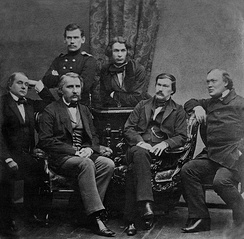 Russian writers of the second half of the 19th century: Leo Tolstoy, Dmitry Grigorovich, Ivan Goncharov, Ivan Turgenev, Alexander Druzhinin, and Alexander Ostrovsky