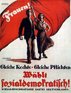 German election poster from 1919: Equal rights – equal duties!