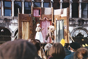 A commedia dell'arte street play during the carnival of Venice, Italy.