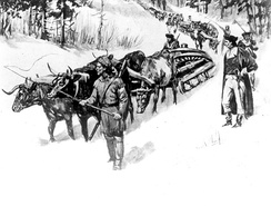 "Henry Knox bringing his ""noble train"" of artillery to Cambridge"