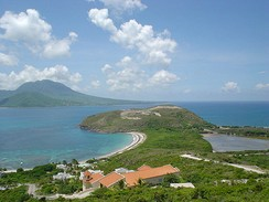 A view of Nevis island from the southeastern peninsula of Saint Kitts