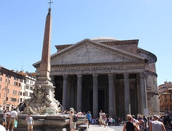 The Pantheon and the Fontana del Pantheon. Roman relics and Roman culture are important national symbols in Italy.