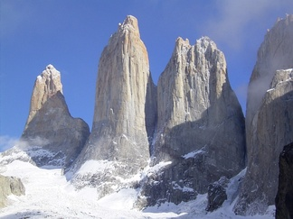 Granite rock formation in the Chilean Patagonia. Like most inorganic minerals formed by oxidation in the Earth's atmosphere, granite consists primarily of crystalline silica SiO2 and alumina Al2O3.
