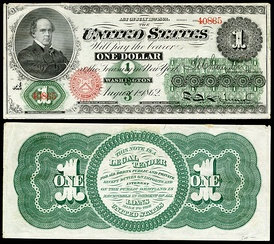 First $1 bill issued in 1862 as a Legal Tender Note