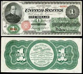 "One dollar ""Greenback"", issued in 1862"
