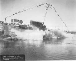 USS Pivot launched at the Gulf Shipbuilding Company, Chickasaw, Alabama in 1943.