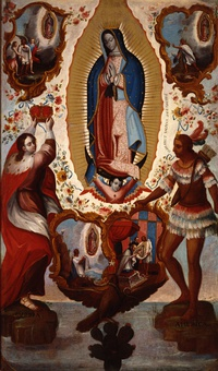 Painting of Our Lady of Guadalupe, including scenes of the apparition of the Virgin Mary to Juan Diego by Josefus De Ribera Argomanis. (1778)