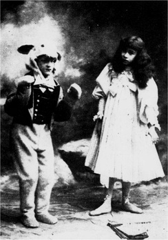 "1898 revival: ""Miss Rose Hersee in Alice in Wonderland talking to the White Rabbit"""