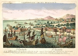 The capture of St Eustatius by the British fleet in February 1781. The island is sacked by the British.