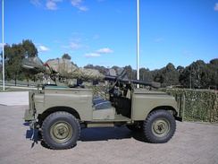 "Ex-Australian Army Land Rover Series 2 ""gunbuggy"", with an M40 recoilless rifle used in the anti-tank role, at the Australian War Memorial."