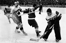 The game between Canada and the Soviet Union at the 1954 World Championships, which the Soviets won 7–2.