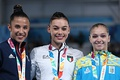 Floor exercise victory ceremony (from left to right): Amelie Morgan (Silver), Giorgia Villa (Gold), Anastasiia Bachynska (Bronze)