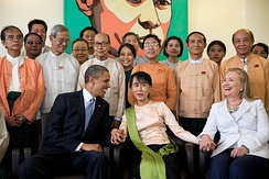 U.S. President Barack Obama and Secretary of State Hillary Clinton with Aung San Suu Kyi and her staff at her home in Yangon, 2012