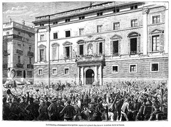 Proclamation of the First Spanish Republic in Barcelona, 1873. Francesc Pi i Margall, was president and intellectual theoric of federalism.