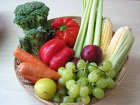 Basket of fresh fruit and vegetables grown in Israel