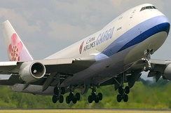 China Airlines Cargo Boeing 747-400F departs Manchester Airport