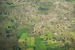An aerial view of bomb craters in Cambodia
