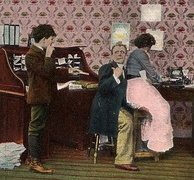 "Humorous ""Get out! Can't you see I'm busy"" postcard (1900s)"