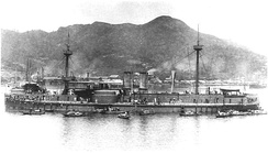 The Chinese Beiyang Fleet ironclad battleship Zhenyuan captured by IJN in 1895.