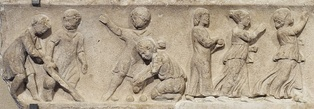 Boys and girls playing ball games (2nd century relief from the Louvre)