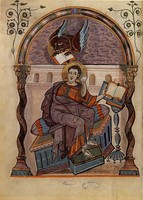 Mark the Evangelist listening to the winged lion, Mark, image 21 of the Codex Aureus of Lorsch or Borsch Gospels.