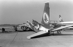 A destroyed airliner at Beirut Airport, 1982.