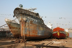 Ships in shipyard at Buriganga River
