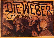 Color lithographic poster for The Weavers by Emil Orlik from 1897.