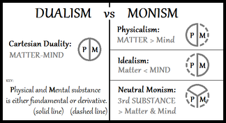 A diagram with neutral monism compared to Cartesian dualism, physicalism and idealism.