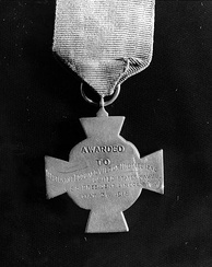 "Reverse of Izac's Medal of Honor. He received the ""Tiffany Cross"" version of the medal."