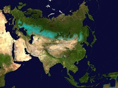 The Kazakh Steppe is part of the Eurasian Steppe Belt (in   on the map)