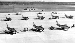 North American F-86L Sabres of the 159th Fighter Squadron at Imeson Airport, 1957