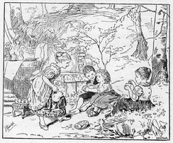 An 1883 German illustration of children playing house