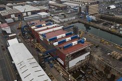 Prince of Wales under construction at Rosyth Dockyard in December 2014