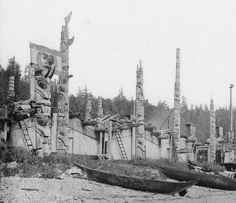 Houses and totem poles, Skidegate, 26 July 1878 (George Mercer Dawson, Geological Survey of Canada, NAC-PA-37756)