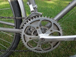 Half-step plus granny crankset with 28, 45, and 50 tooth chainrings on a Trek 620 touring bicycle