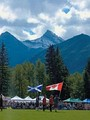 The Flag of Scotland and Flag of Canada at the Canmore Highland Games.